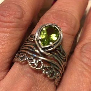 Or Paz Peridot Sterling Silver w/ Filigree Ring
